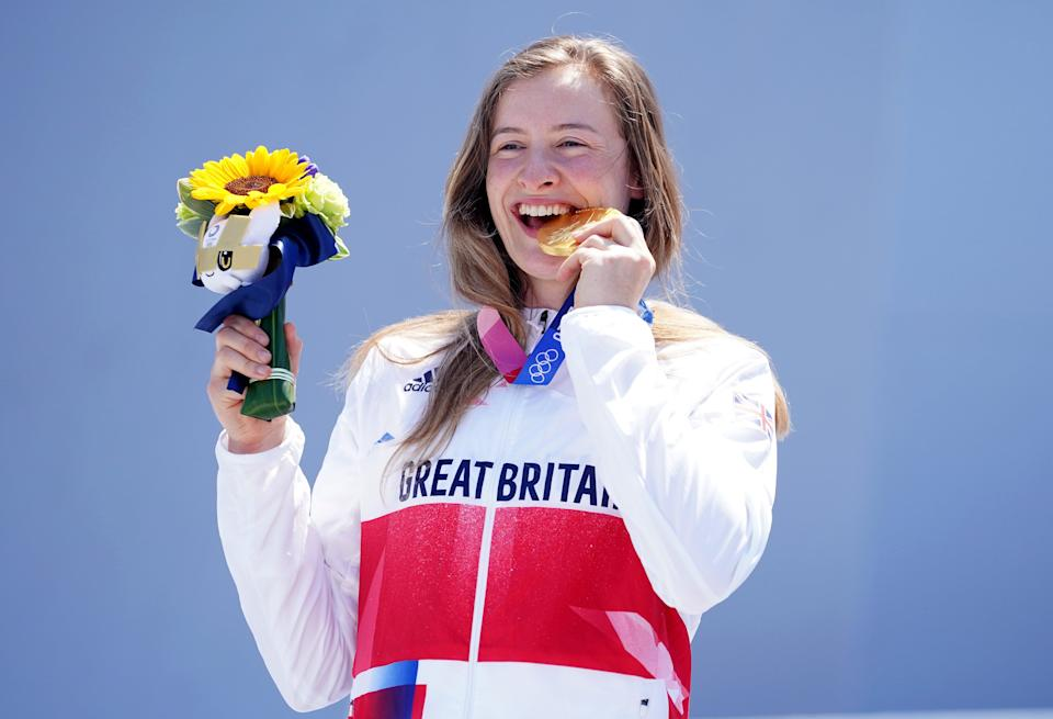 Charlotte Worthington celebrates her gold medal in the women's BMX freestyle (Mike Egerton/PA) (PA Wire)