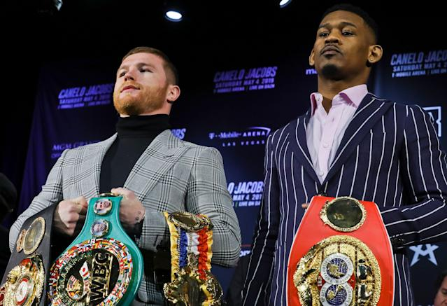 WBA-WBC middleweight champion Canelo Alvarez and IBF middleweight champion Daniel Jacobs meet in a 12-round unification bout on Saturday in Las Vegas. (AP Photo)