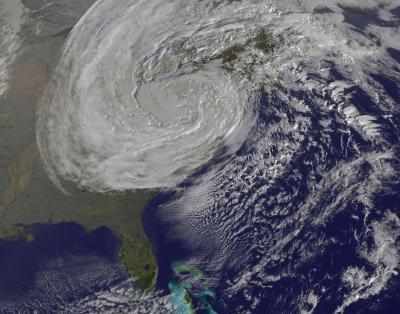 This GOES-13 satellite image was captured on Oct. 31 at 1240 UTC as Sandy's circulation was winding down over Pennsylvania. Sandy had been downgraded a remnant low pressure area.