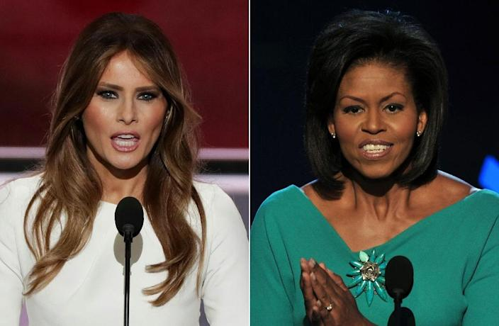 Melania Trump (L) was mocked during her husband's campaign for a major speech that plagiarized Michelle Obama (AFP Photo/ALEX WONG, PAUL J. RICHARDS)