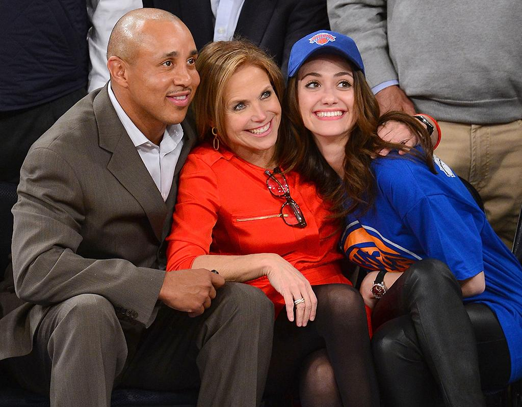 NEW YORK, NY - MARCH 07:  John Starks, Katie Couric and Emmy Rossum attend the Oklahoma City Thunder vs New York Knicks game at Madison Square Garden on March 7, 2013 in New York City.  (Photo by James Devaney/WireImage)