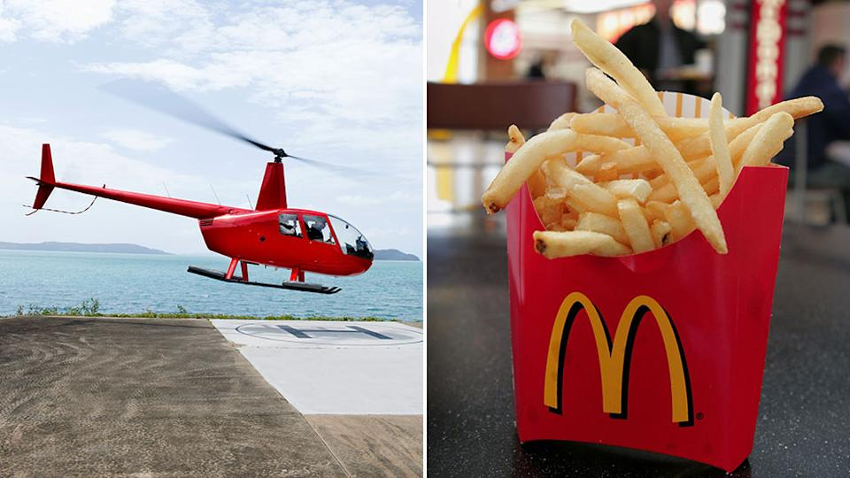 While the McDonald's meal cost around $A50, hiring the chopper cost around $3000. Source: Getty Images