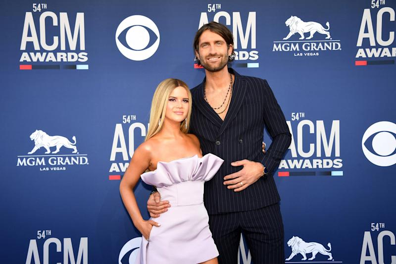 US singer Maren Morris (L) and US singer Ryan Hurd arrive for the 54th Academy of Country Music Awards on April 7, 2019, at the MGM Grand Garden Arena in Las Vegas, Nevada. (Photo by Robyn Beck / AFP) (Photo credit should read ROBYN BECK/AFP/Getty Images)