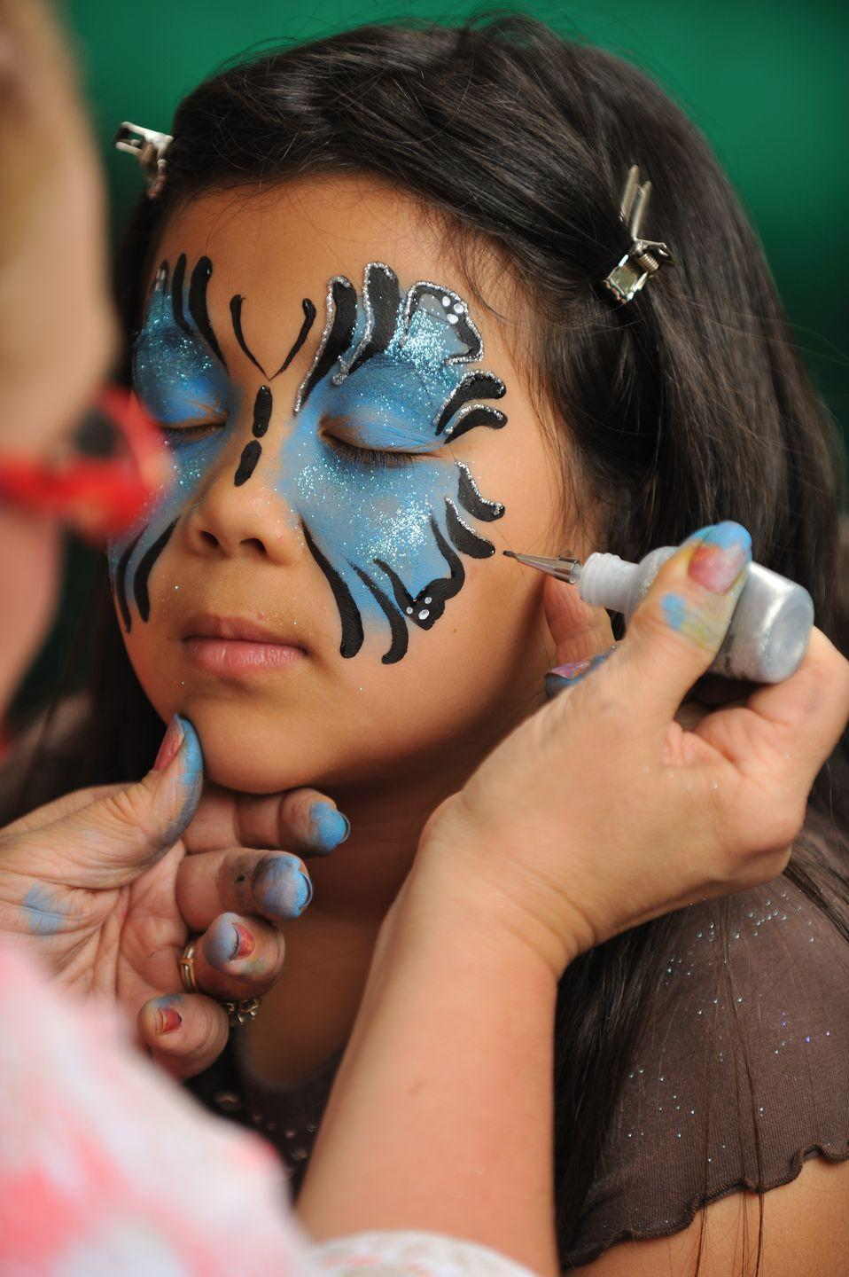 """<p>You don't have to be an artist to have fun with face paint. Ask your kids which design they'd like and do your best to paint it. They can even take turns painting each others' faces if they'd like.</p><p><a class=""""link rapid-noclick-resp"""" href=""""https://www.amazon.com/JOYIN-Non-Toxic-Ultimate-Including-Superbowl/dp/B075FH22G4/?tag=syn-yahoo-20&ascsubtag=%5Bartid%7C10055.g.33796718%5Bsrc%7Cyahoo-us"""" rel=""""nofollow noopener"""" target=""""_blank"""" data-ylk=""""slk:SHOP FACE PAINT"""">SHOP FACE PAINT</a></p>"""