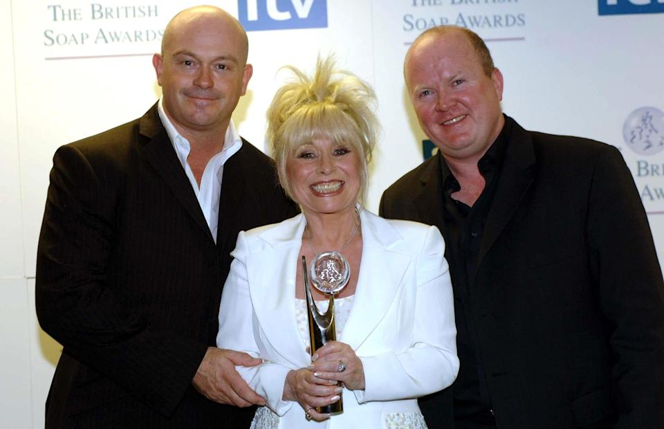 EMBARGOED TIL 0001 SUNDAY 21 MAY 2006. EastEnders Ross Kemp, Barbara Windsor & Steve McFadden (R) with the award for Best British Soap at the British Soap Awards, from the BBC Television Centre, west London.