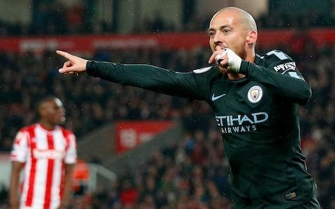 """The sight of Pep Guardiola marching onto the pitch after the final whistle to lecture Leroy Sane said it all: the Manchester City manager wants more. This comfortable victory, earned through two sublime David Silva goals, was not enough in a campaign in which City can break all kinds of Premier League records. And, with the Champions League draw on Friday, still achieve even greater things. City will be in Abu Dhabi when that draw takes place, as they enjoy a break before resuming their campaign against Everton at the end of this month. Win that and it means that they can claim the title in their next fixture – which just happens to be against Manchester United at home on April 7. The countdown is on. Guardiola said that City will """"come back stronger"""" from the Middle East and it sounded like a threat as much as a promise. Just how much stronger can this dazzling City side be? Stoke are no mugs under Paul Lambert and, as they should, they fought for their lives as they desperately try and beat relegation. But they did not even register a shot on target. Interestingly, Guardiola chose to highlight the fact that this result meant City had achieved the double over Stoke for the first time since 1999-2000, and it shone a light on the fact that such records and achievements really do matter to him. Guardiola does not want to just win this league but to achieve new landmarks in doing so. Already City have earned 81 points, the first team to achieve that after 30 games, and the highest-ever points total in the Premier League - Chelsea's 95 under Jose Mourinho in 2004-05 - is in Guardiola's sights. City can top 100 points and, with 85 goals already, can beat the record of 103 achieved by Carlo Ancelotti's Chelsea in 2009-10. A double century - 100 points; 100 goals - is possible. Stoke 0 - 1 Man City (David Silva, 10 min) This result also means that City surpassed their points total of 78 earned last season. And have done so with eight games to go. But it is not enough. It a"""