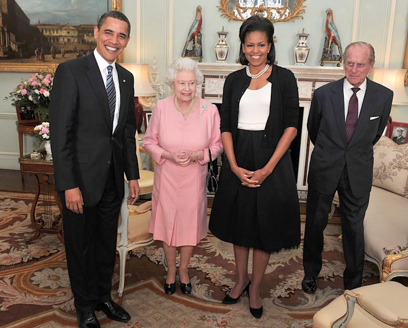 President Barack Obama and the first lady pose with Queen Elizabeth and Prince Philip during an audience at Buckingham Palace on April 1, 2009 (ASSOCIATED PRESS)