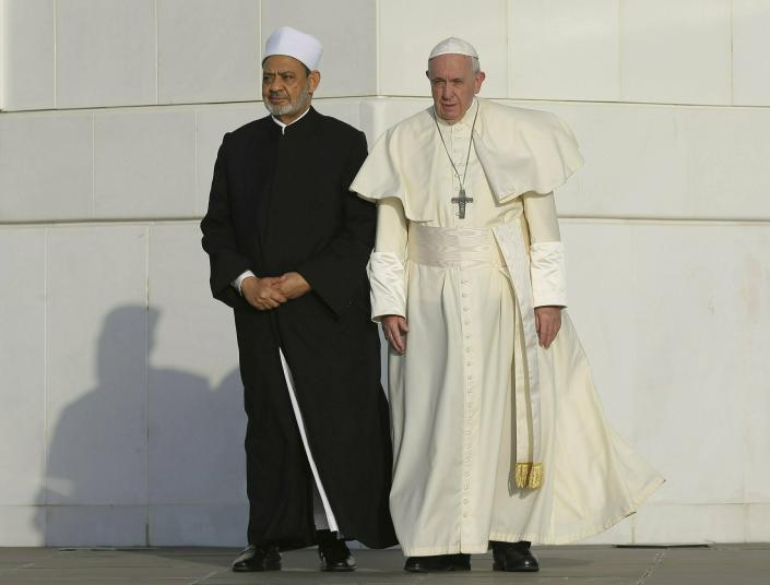 Pope Francis, right, and the Grand Imam of Al Azhar Ahmed el-Tayeb pose for a photo at the Sheikh Zayed Grand Mosque in Abu Dhabi, United Arab Emirates, Monday, Feb. 4, 2019. Francis travelled to Abu Dhabi to participate in a conference on inter religious dialogue sponsored the Emirates-based Muslim Council of Elders, an initiative that seeks to counter religious fanaticism by promoting a moderate brand of Islam. (AP Photo/Kamran Jebreili)