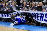 <p>Myles Powell #13 of the Seton Hall Pirates dives into the press table in the second half against the Wofford Terriers during the first round of the 2019 NCAA Men's Basketball Tournament at Jacksonville Veterans Memorial Arena on March 21, 2019 in Jacksonville, Florida. </p>