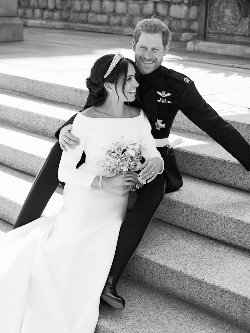 WINDSOR, UNITED KINGDOM - MAY 19: In this handout image released by the Duke and Duchess of Sussex, the Duke and Duchess pictured together in an official wedding photograph on the East Terrace of Windsor Castle on May 19, 2018 in Windsor, England. (Photo by Alexi Lubomirski/The Duke and Duchess of Sussex via Getty Images) NOTE - BLACK AND WHITE ONLY. NEWS EDITORIAL USE ONLY. NO COMMERCIAL USE. NO MERCHANDISING, ADVERTISING, SOUVENIRS, MEMORABILIA or COLOURABLY SIMILAR. NOT FOR USE AFTER 31 DECEMBER, 2018 WITHOUT PRIOR PERMISSION FROM KENSINGTON PALACE. NO CROPPING. Copyright in the photograph is vested in The Duke and Duchess of Sussex. Publications are asked to credit the photographs to Alexi Lubomirski. No charge should be made for the supply, release or publication of the photograph. The photograph must not be digitally enhanced, manipulated or modified in any manner or form and must include all of the individuals in the photograph when published.
