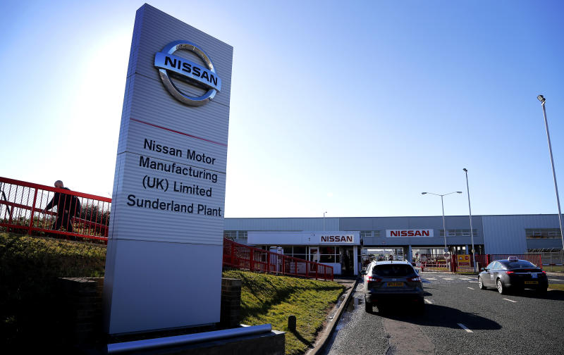 Nissan plant in Sunderland, England, Thursday, March 14, 2019.(AP Photo/Frank Augstein)