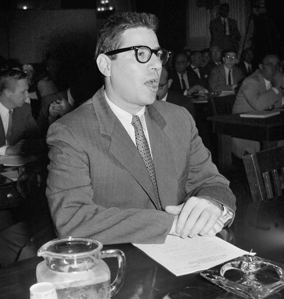 FILE - In this October 1959 file photo, Herbert Stempel appears as a witness in Washington as the House Legislative Oversight subcommittee opens its probe of charges of rigged quiz shows. Stempel, a whistle blower of early television whose confession to deliberately losing on a 1950s quiz show helped drive a national scandal and join his name in history to winning contestant Charles Van Doren, has died age 93. Stempel's former wife, Ethel Stempel, told The Associated Press on Sunday that he died at a New York nursing home on April 7. She cited no specific cause of death. (AP Photo/Bill Allen, File)