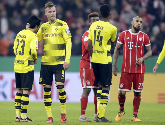 "<a class=""link rapid-noclick-resp"" href=""/soccer/teams/borussia-dortmund/"" data-ylk=""slk:Borussia Dortmund"">Borussia Dortmund</a> played Bayern Munich close in Wednesday's DFB-Pokal match, but remains well behind its big rival in the big picture. (AP)"
