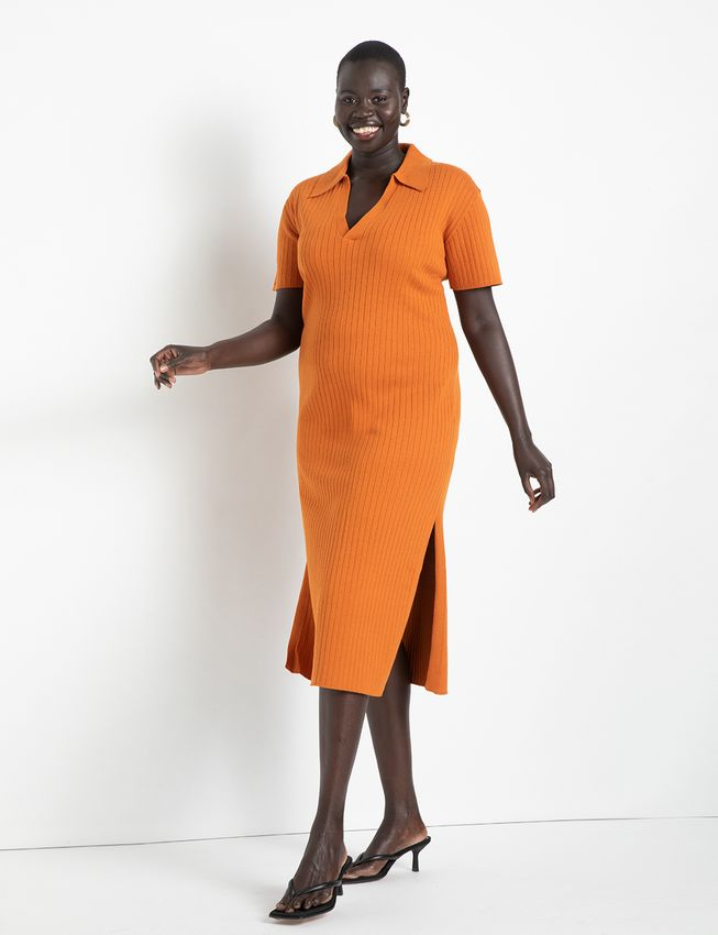 """<h2>Eloquii Rib Collar Sweater Dress <br></h2><br><strong>Best Plus-Size Collared Sweater Dress </strong><br><em>Size Range: 14-28 </em><br><br>The preppy polo trend gets a dressy upgrade with this ribbed number from Eloquii. It's a closet standout that one reviewer says gets her """"compliments all day long."""" We recommend checking out both the nude and bright orange colors. <br><br><br><em>Shop<strong><a href=""""https://go.skimresources.com/?id=30283X879131&isjs=1&jv=15.2.0-stackpath&sref=https%3A%2F%2Fwww.refinery29.com%2Fen-us%2Fplus-size-sweater-dresses%23slide-1&url=https%3A%2F%2Fwww.eloquii.com%2Frib-collar-sweater-dress%2F1237810.html&xguid=01ERGDHBXNJ489J9KBAH8RZJH0&xs=1&xtz=240&xuuid=13a7fbd9948972339c551d8b8235af4b&xjsf=other_click__contextmenu%20%5B2%5D"""" rel=""""nofollow noopener"""" target=""""_blank"""" data-ylk=""""slk:Eloquii"""" class=""""link rapid-noclick-resp""""> Eloquii </a></strong></em><br><br><strong>Eloquii</strong> Rib Collar Sweater Dress, $, available at <a href=""""https://go.skimresources.com/?id=30283X879131&url=https%3A%2F%2Fwww.eloquii.com%2Frib-collar-sweater-dress%2F1237810.html"""" rel=""""nofollow noopener"""" target=""""_blank"""" data-ylk=""""slk:Eloquii"""" class=""""link rapid-noclick-resp"""">Eloquii</a>"""