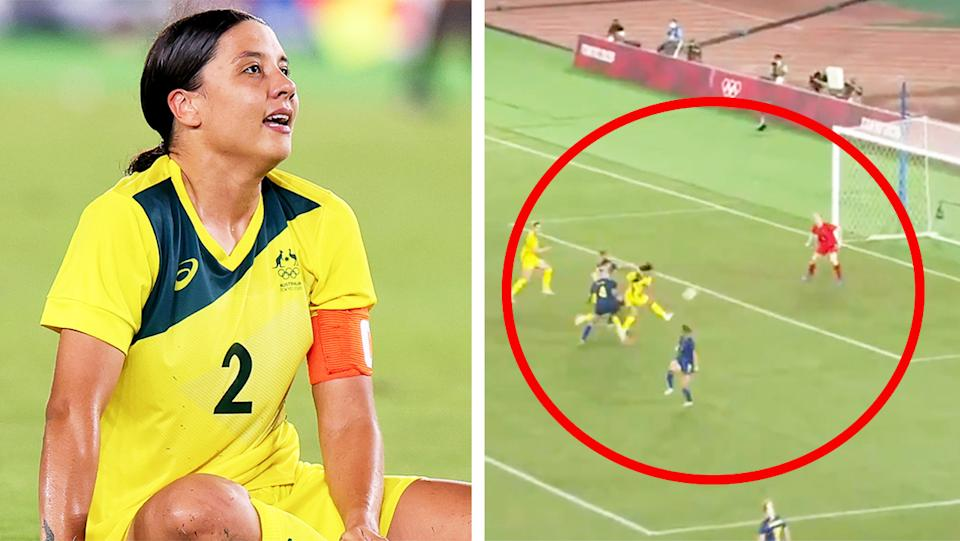 Sam Kerr (pictured left) crying after the Matildas loss and (pictured right) her goal disallowed against Sweden at the Olympics.