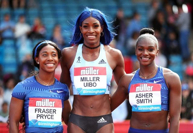 Bahamas Shaunae Miller-Uibo (centre) will not race the 200m at the World Championships. (David Davies/PA)