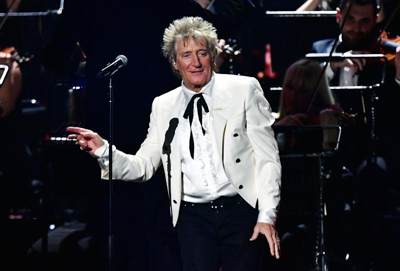 LONDON, ENGLAND - FEBRUARY 18: (EDITORIAL USE ONLY) Rod Stewart performs during The BRIT Awards 2020 at The O2 Arena on February 18, 2020 in London, England. (Photo by Gareth Cattermole/Getty Images)