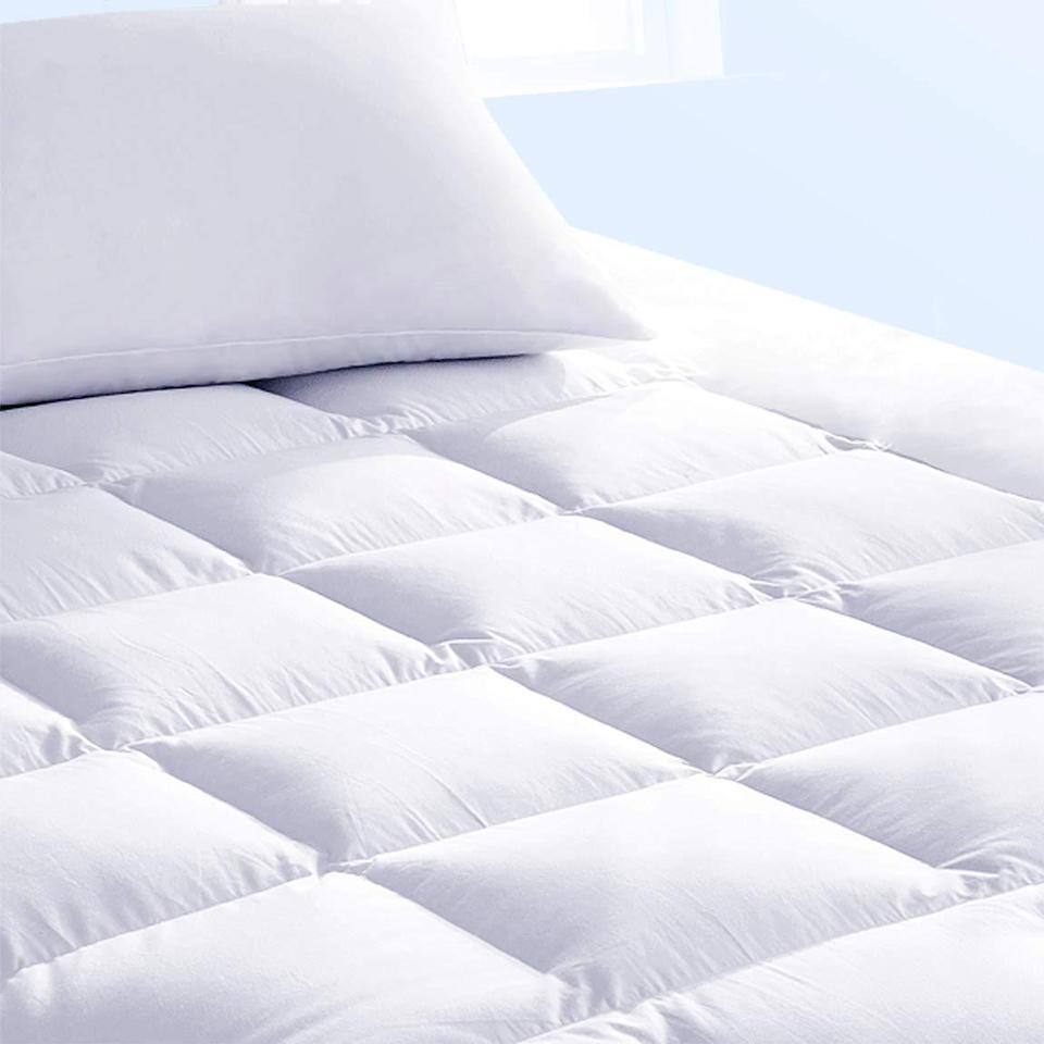 "<h2>Pure Brands Down Alternative Cooling Mattress Topper & Pad Cover</h2><br>Our beds have become much more than a sleep space in 2020, they've become our full-on sanctuaries — where we work, lounge, virtually socialize, and so much more. Therefore, we totally get why readers chose <a href=""https://refinery29.com/en-us/best-mattress-toppers-reviews"" rel=""nofollow noopener"" target=""_blank"" data-ylk=""slk:this top-rated and well-priced topper-plus-protective-pad set to upgrade their mattresses"" class=""link rapid-noclick-resp"">this top-rated and well-priced topper-plus-protective-pad set to upgrade their mattresses</a>. The Amazon-Choice buy only costs $37 and, according to nearly 4,000- pleased reviewers, ""IS WELL WORTH IT!!!! The padding is thick and plushy its like sleeping on a big, fluffy cloud. In fact, it is SO soft, that we didn't even put sheets on the first night we had it!!!! I am not kidding. It is literally THAT soft. It's like having a brand-new bed for less than $40!!!!!"" (wow.)<br><br><em>Shop <strong><a href=""https://amzn.to/36bQO5q"" rel=""nofollow noopener"" target=""_blank"" data-ylk=""slk:Amazon"" class=""link rapid-noclick-resp"">Amazon</a></strong></em><br><br><strong>Pure Brands</strong> Down Alternative Mattress Topper (Full), $, available at <a href=""https://amzn.to/3bWNZ8L"" rel=""nofollow noopener"" target=""_blank"" data-ylk=""slk:Amazon"" class=""link rapid-noclick-resp"">Amazon</a>"