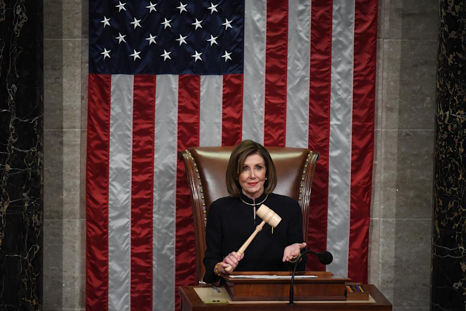 WASHINGTON, DC - DECEMBER 18:  Speaker of the House Nancy Pelosi (D-CA) oversees a vote on the second articles of impeachment against President Donald Trump in the House of Representatives at the United States Capitol on Wednesday December 18, 2019 in Washington, DC.(Photo by Matt McClain/The Washington Post via Getty Images)