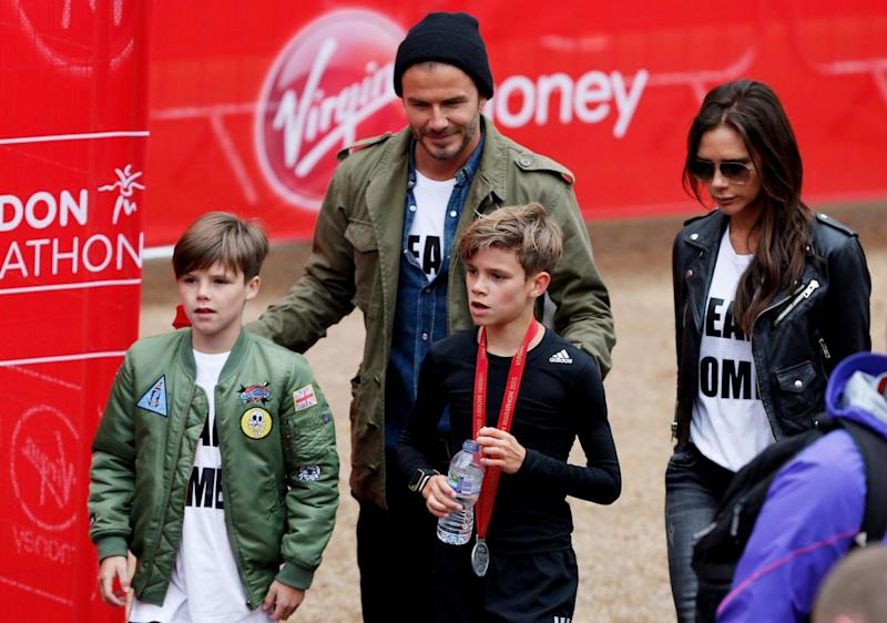 Family: Victoria with husband David and children Romeo and Cruz (Steve Bardens/Getty Images)