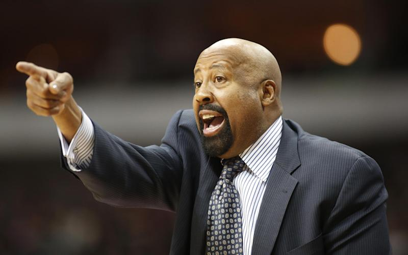 "FILE - In this Jan. 5, 2014 file photo, New York Knicks head coach Mike Woodson gestures during the second half of an NBA basketball game against the Dallas Mavericks in Dallas. The Knicks have fired Woodson after falling from division champions to out of the playoffs in one season. New team president Phil Jackson made the decision Monday, April 21, 2014, saying in a statement ""the time has come for change throughout the franchise."" (AP Photo/Sharon Ellman, File)"