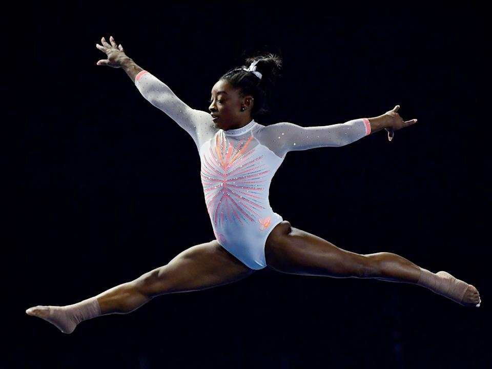 Simone Biles performs her floor routine during a US gymnastics competition (Getty Images)