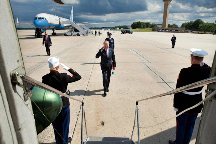 Vice President Joe Biden salutes as he approaches Marine Two after landing at Joint Base Andrews aboard Air Force Two. June 6,2012.