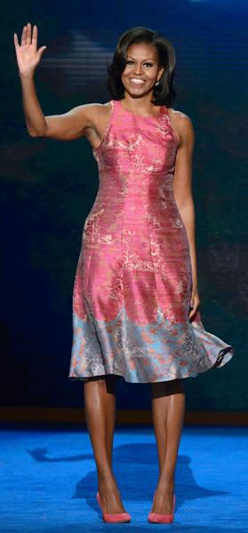 <b>First Lady Michelle Obama at the Democratic National Convention in Charlotte, North Carolina</b><br><br>Barack's wife looked stunning in a salmon pink, sleeveless dress by Detroit-based designer, Tracy Reese, and matching suede pink pumps from J. Crew.
