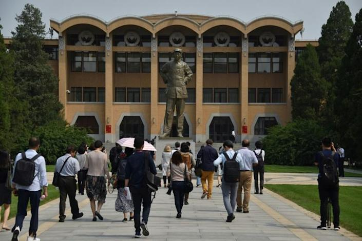 The usually highly secretive school in Beijing gave a rare tour to foreign media during a tightly controlled visit this week (AFP Photo/LEO RAMIREZ)