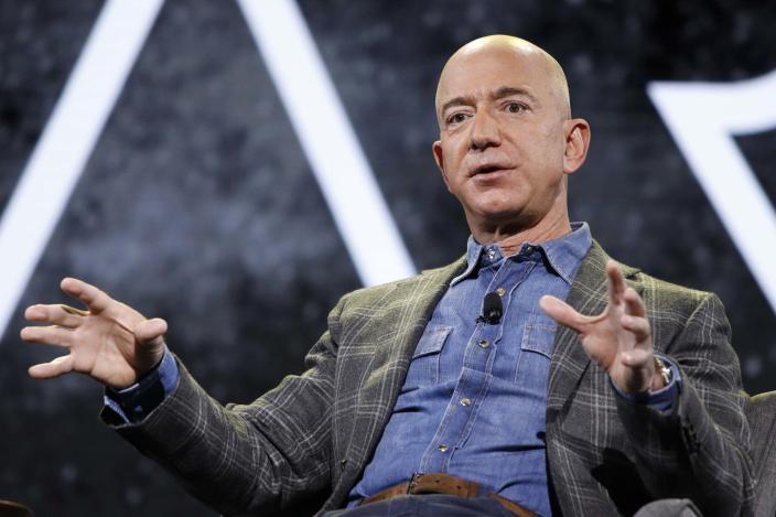 Amazon CEO Jeff Bezos speaks at the the Amazon re:MARS convention in Las Vegas on June 6, 2019.