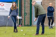 <p>The Duke and Duchess of Cambridge played golf during their visit to the Belmont Community Center. </p>