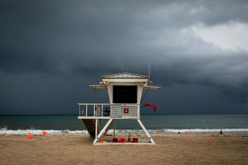 A lifeguard tower is seen on the shore in at Las Olas Beach in Fort Lauderdale, Florida on Sept. 2, 2019. (Photo: Eva Marie Uzcategui/AFP/Getty Images)