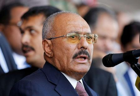 Ali Abdullah Saleh addresses a rally held to mark the 35th anniversary of the establishment of his General People's Congress party in Sanaa Yemen
