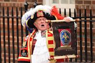 """<p>The current town crier is <a href=""""http://www.bbc.com/news/av/uk-32563245/royal-baby-unofficial-town-crier-announces-birth"""" rel=""""nofollow noopener"""" target=""""_blank"""" data-ylk=""""slk:Tony Appleton"""" class=""""link rapid-noclick-resp"""">Tony Appleton</a> and he has announced the births of both Prince George and Princess Charlotte. The position <a href=""""http://www.englishtowncrier.co.uk/history.html"""" rel=""""nofollow noopener"""" target=""""_blank"""" data-ylk=""""slk:originated"""" class=""""link rapid-noclick-resp"""">originated</a> in medieval times since the majority of the townspeople in the country could not read or write<span class=""""redactor-invisible-space"""">. </span></p>"""