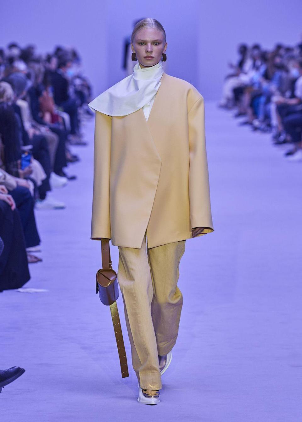 <p>Lucie and Luke Meier brought their trademark timelessness to Jil Sander's latest collection, sending plenty of neutral, tailored or slinky silk pieces down the catwalk. However, there were some more playful moments in the collection too, including some bright pops of purple, yellow and even a dash of animal print.</p>