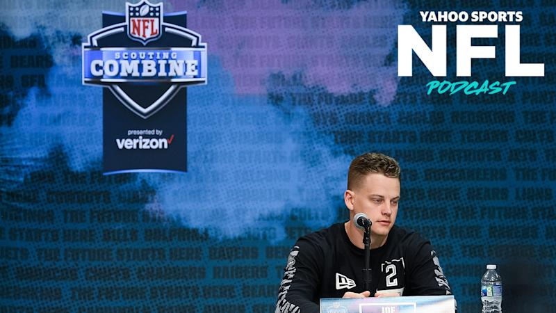 LSU quarterback Joe Burrow takes questions at the 2020 NFL scouting combine. (Photo by Zach Bolinger/Icon Sportswire via Getty Images)
