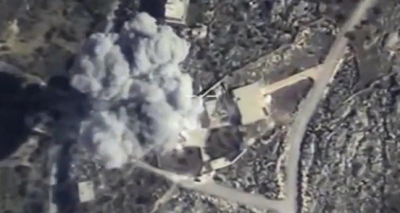 A video grab made on November 23, 2015 purporting to show an explosion after airstrikes carried out by Russian fighter jets force on what Russia says was an Islamic State facility in the Syrian province of Idlib