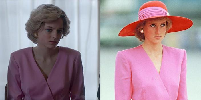 <p>Although Princess Diana's bubblegum pink suit is only visible from the waist up on the show, it's quite similar to the Catherine Walker outfit the Princess worn in Kuwait in 1989. Right down to the oversized pearl earrings. </p>