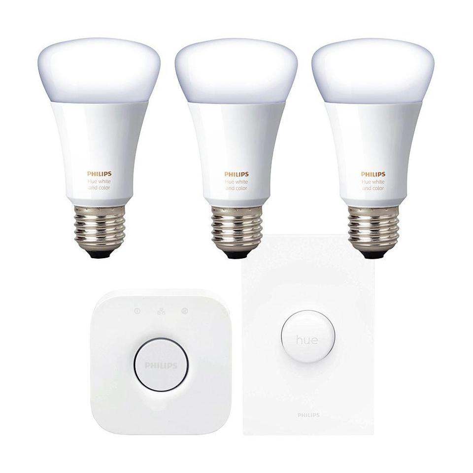 """<p><strong>Philips Hue</strong></p><p>amazon.com</p><p><strong>$179.99</strong></p><p><a href=""""https://www.amazon.com/dp/B07XH4KDR5?tag=syn-yahoo-20&ascsubtag=%5Bartid%7C2089.g.864%5Bsrc%7Cyahoo-us"""" rel=""""nofollow noopener"""" target=""""_blank"""" data-ylk=""""slk:Shop Now"""" class=""""link rapid-noclick-resp"""">Shop Now</a></p><p>The latest Philips Hue white and color ambiance lighting kit is the brand's best to date. It can glow in millions of colors, as well as thousands of shades of white. It's compatible with Amazon Alexa, the Google Assistant, and Apple HomeKit. It can even sync with your favorite movies and video games!</p><p>The kit consists of a Philips Hue bridge, a smart switch, and three light bulbs. Philips has the best selection of connected lighting products in the business, so you can expand your setup to even more if you wish.</p>"""