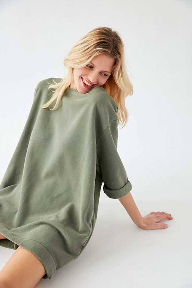 """<p>If you've ever wanted to walk around your home pant-less, this sweatshirt dress lets you do that while looking socially acceptable. Pair the straight-cut fit and lightweight fabric with some white sneakers for an easygoing street-style look (for when you do finally get to leave your house). Plus, it has pockets!</p> <p><strong>To buy</strong>: $40, <a href=""""https://click.linksynergy.com/deeplink?id=93xLBvPhAeE&mid=43176&murl=https%3A%2F%2Fwww.urbanoutfitters.com%2Fshop%2Fuo-torino-sweatshirt-mini-dress%3Fcolor%3D030%26quantity%3D1%26type%3DREGULAR&u1=RS%2C10ElevatedLoungewearPickstoMakeWorkingFromHomeMoreComfortable%25E2%2580%2594andStylish%2Chhong%2CCLO%2CIMA%2C698228%2C202003%2CI"""" target=""""_blank"""">urbanoutfitters.com</a>.</p>"""