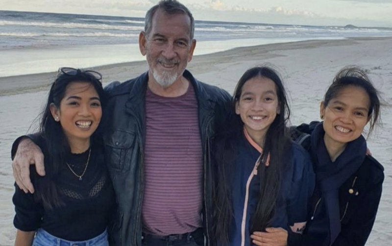 Photo shows Sarah Caisip with her family pm the beach. Source: Nine News