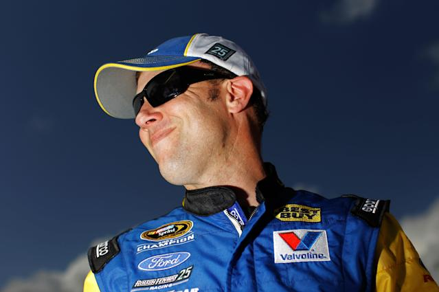 DAYTONA BEACH, FL - FEBRUARY 19: Matt Kenseth, driver of the #17 Best Buy Ford, looks on during qualifying for the NASCAR Sprint Cup Series Daytona 500 at Daytona International Speedway on February 19, 2012 in Daytona Beach, Florida. (Photo by Tom Pennington/Getty Images for NASCAR)
