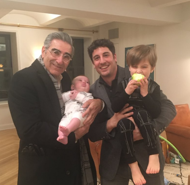 "<p>It's a G-rated <em>American Pie</em> reunion! Jason Biggs and his former onscreen dad Eugene Levy were back together again. ""Jason's father stopped by to meet the baby,"" Bigg's wife, Jenny Mollen, captioned this shot of Levy holding Lazlo, while his big brother, Sid, also got in on the action. ""The apple is purely coincidental,"" Mollens joked. (Photo: <a href=""https://www.instagram.com/p/BeQZANLH6Qn/?taken-by=jennyandteets2"" rel=""nofollow noopener"" target=""_blank"" data-ylk=""slk:Jenny Mollen via Instagram"" class=""link rapid-noclick-resp"">Jenny Mollen via Instagram</a>) </p>"