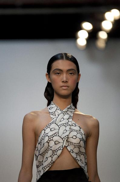 The Thakoon Spring 2013 collection is modeled during Fashion Week, Sunday, Sept. 9, 2012, in New York. (AP Photo/Karly Domb Sadof)