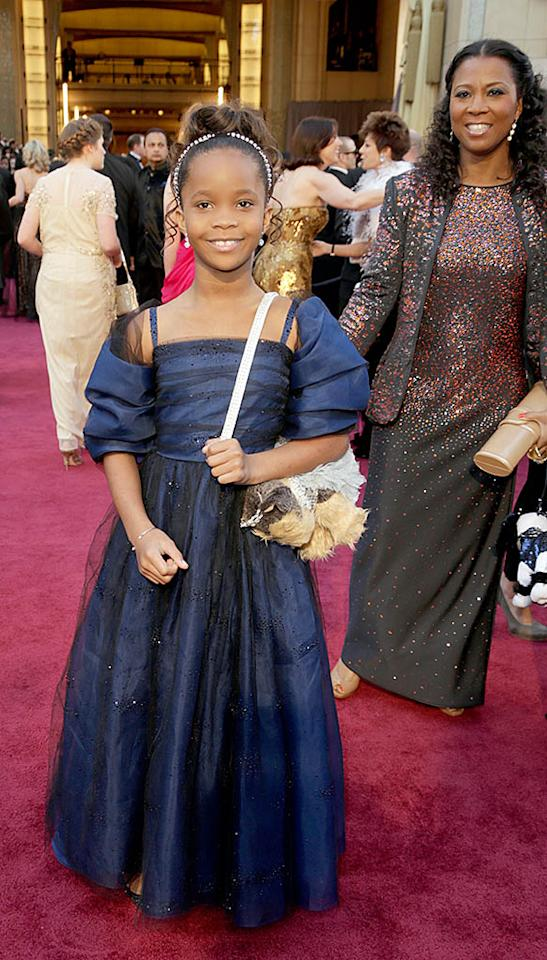 "Best Actress nominee Quvenzhané Wallis, 9, isn't even old enough to cross the street alone, so it was no surprise that the ""Beasts of the Southern Wild"" starlet brought along mom Qulyndreia and her older sister (not pictured) – in addition to her favorite puppy purse – for her big night."