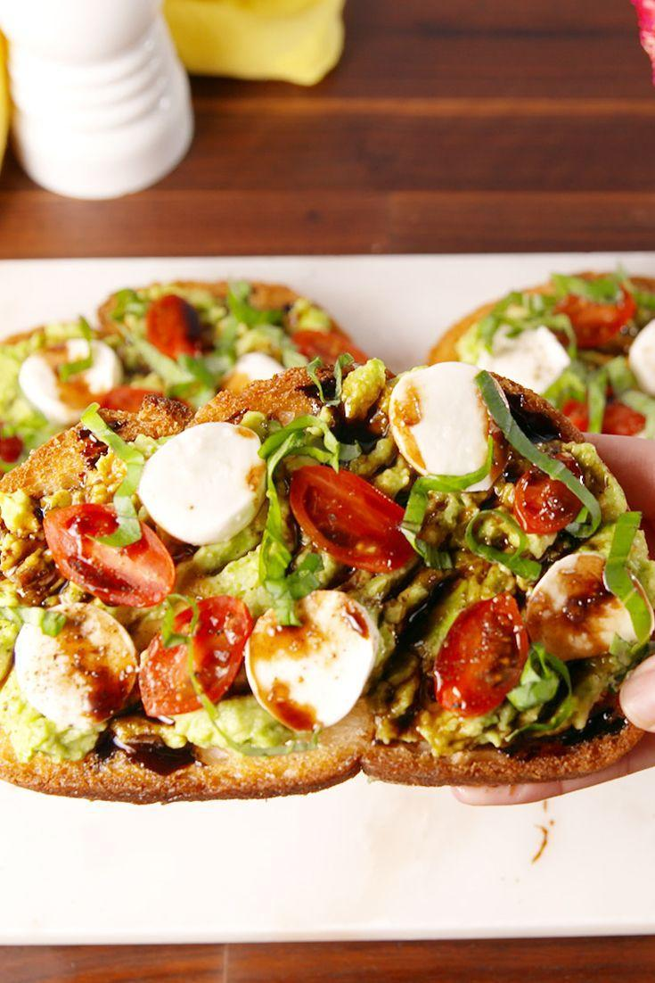 """<p>A new twist on the classic avo toast we all know and love.</p><p>Get the recipe from <a href=""""https://www.delish.com/cooking/recipe-ideas/recipes/a52220/caprese-avocado-toast-recipe/"""" rel=""""nofollow noopener"""" target=""""_blank"""" data-ylk=""""slk:Delish"""" class=""""link rapid-noclick-resp"""">Delish</a>.</p>"""