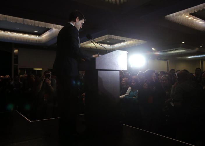 <p>Republican presidential candidate Sen. Marco Rubio of Florida speaks to supporters at his primary-night rally in Manchester, N.H., on Feb. 9, 2016. (Carlo Allegri/Reuters)</p>