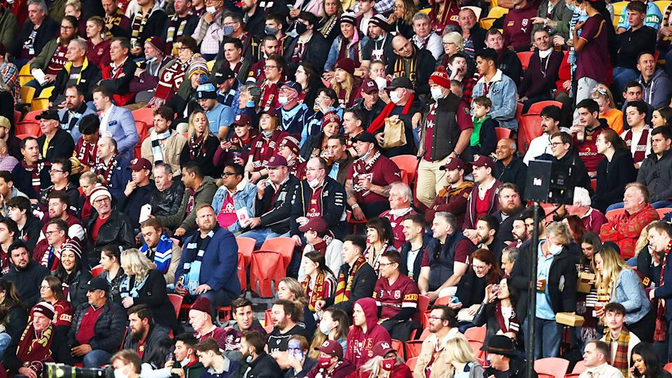 A capacity crowd of 52,000, pictured here at Suncorp Stadium for State of Origin Game II.