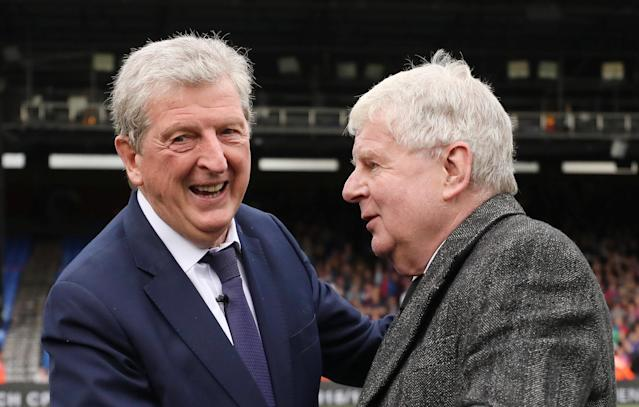 "Soccer Football - Premier League - Crystal Palace vs West Bromwich Albion - Selhurst Park, London, Britain - May 13, 2018 Crystal Palace manager Roy Hodgson shakes hands with commentator John Motson after the match REUTERS/Hannah McKay EDITORIAL USE ONLY. No use with unauthorized audio, video, data, fixture lists, club/league logos or ""live"" services. Online in-match use limited to 75 images, no video emulation. No use in betting, games or single club/league/player publications. Please contact your account representative for further details."