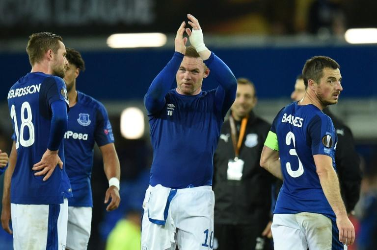 Everton's Wayne Rooney (C) applauds at the final whistle after their UEFA Europa League group stage match against Apollon Limassol, at Goodison Park in Liverpool, on September 28, 2017